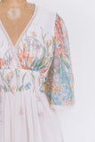 1970s Short Sleeve Floral Dress - XS