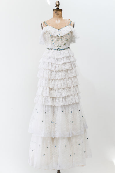 1970s Tiered Lace Gown - XS