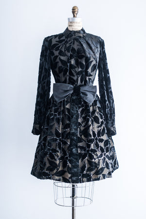 1950's Beaded Velvet Burnout Swing Dress with Poet Sleeves - S/M