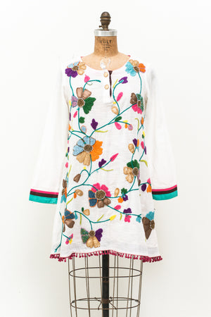 1970s Ivory Embroidered Tunic Dress - M