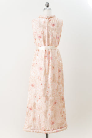 1960s Pink Chiffon Beaded Mod Dress - M