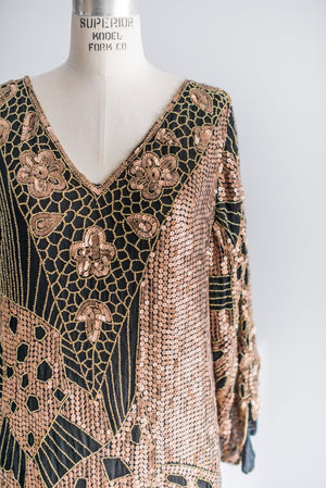 1980s Melting Chocolate Beaded Dress - M/L