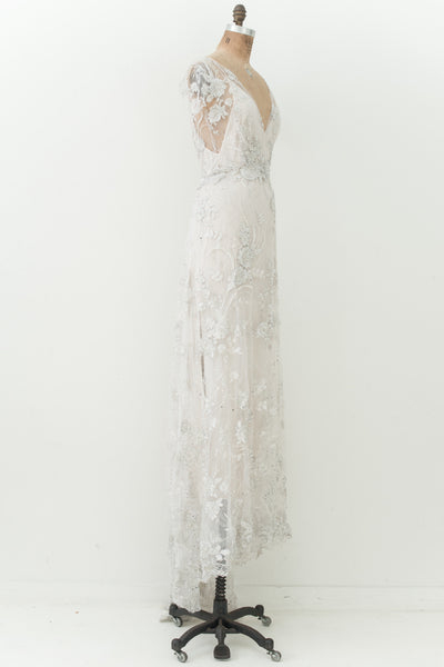 RENTAL GOSSAMER Silver or Gold Beaded Gown - XS/S