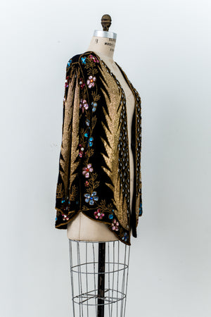 Rare 1980s Silk Beaded Jacket - M