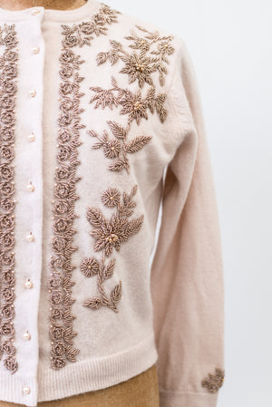 1950s Cashmere Beaded Cardigan - S/M
