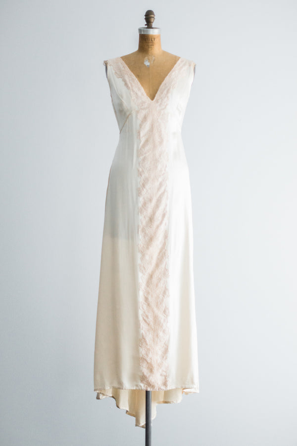 1940s Satin Gown with Ecru Lace Trim - S
