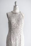 1980s Silver Beaded Silk Gown - M/L