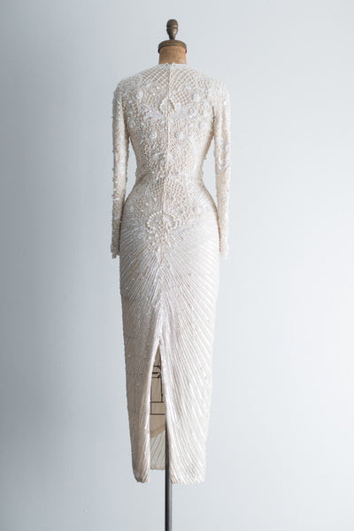 1980 Pure Silk Ivory Beaded Gown - XS/S