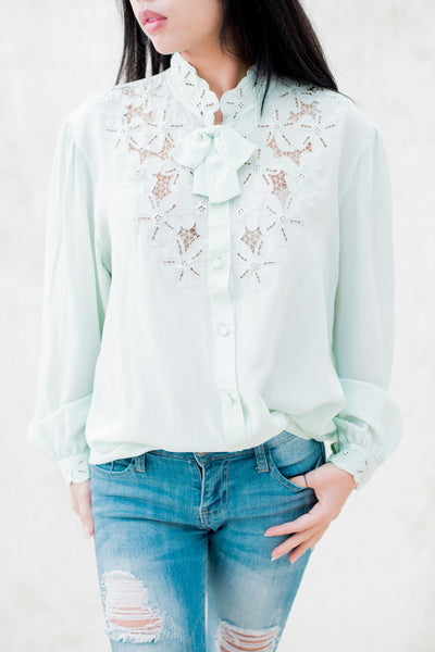 RARE Vintage Seafoam Silk Embroidered Blouse - S/M