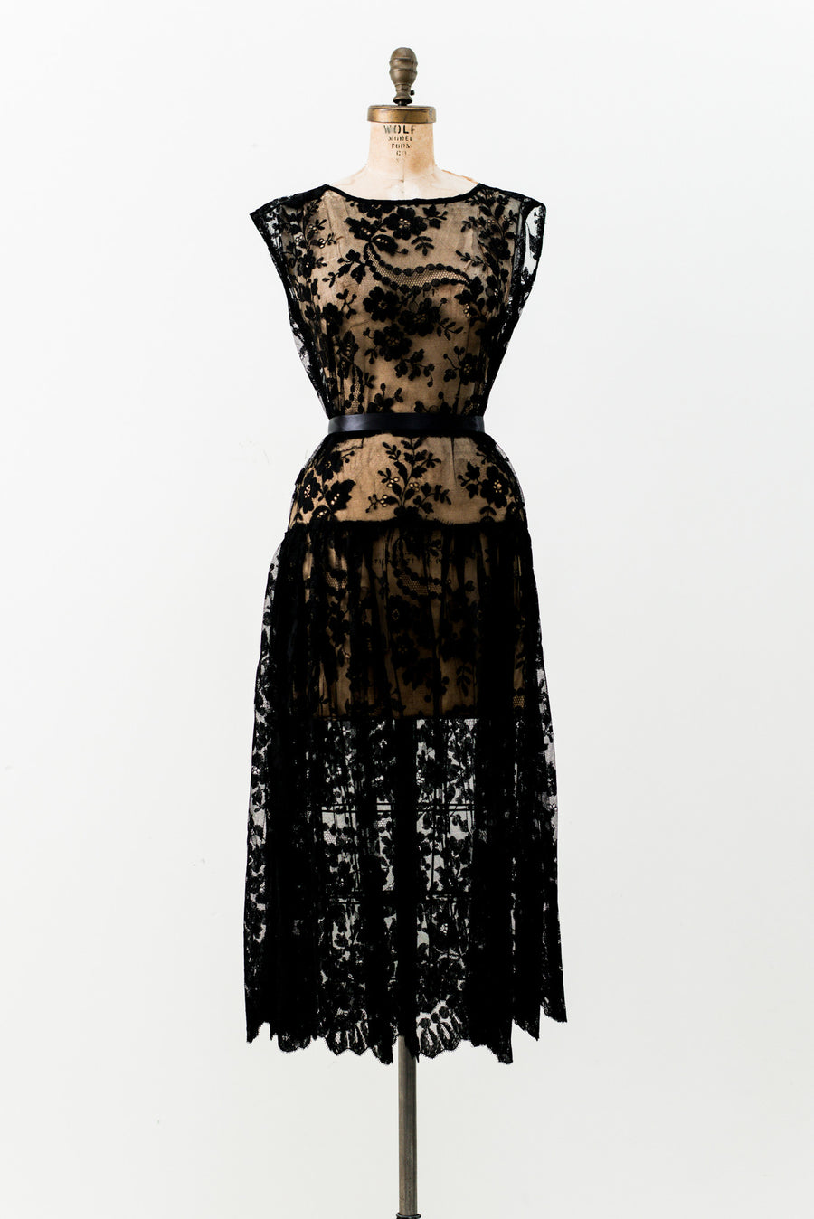 1920s Black Lace Dress - M