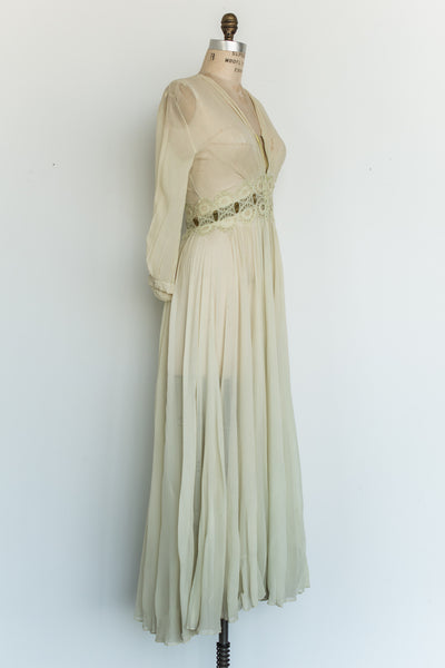1940s Green Silk Dressing Gown - XS/S