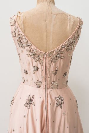 1950s Harvey Berin Rose Pink Silk Beaded Dress - S