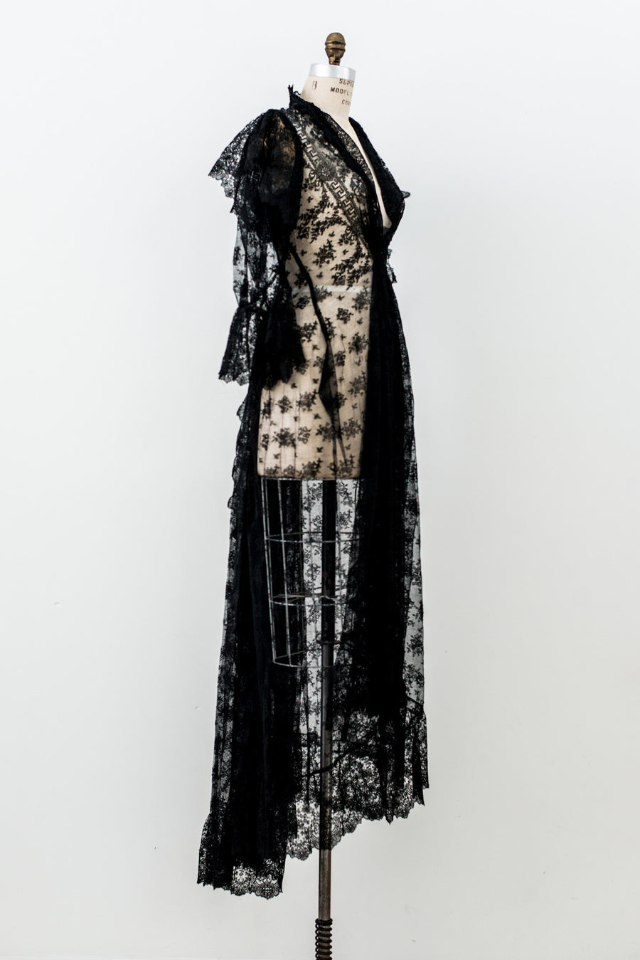 Antique Black Silk Lace Dressing Gown - S
