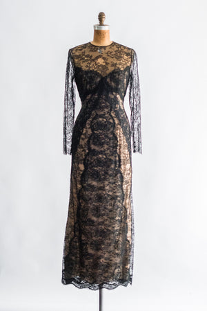 1980s Bill Blass Silk Lace Column Gown - M/L