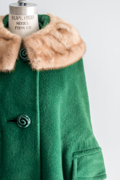 1950s Green Wool and Mink Cape Coat - L