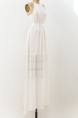 1980s Silk Chiffon Maxi Dress - S