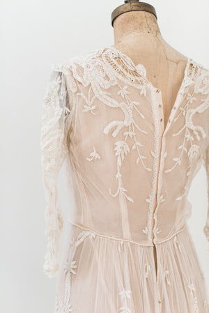 Edwardian Duchesse Lace Gown with Train - M