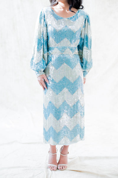 RESERVED 1980s Silk Beaded Chevron Dress - M