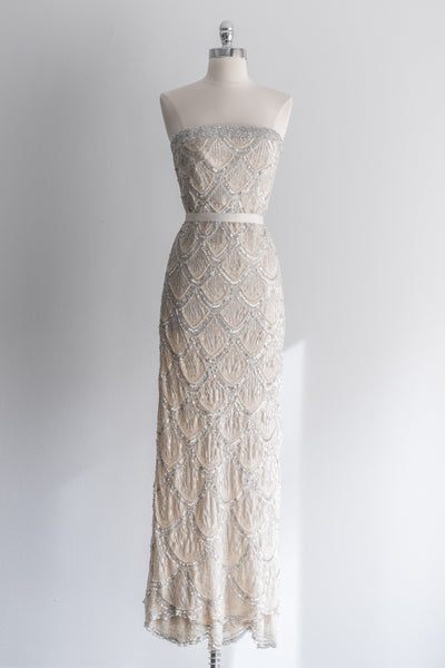 Silk Nude and Silver Strapless Beaded Gown - S/2-4