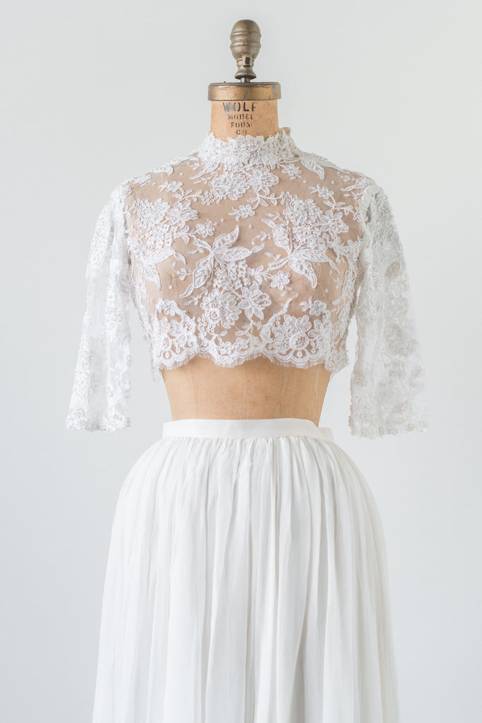 Rental Lace Crop Top And Silk Skirt Combo Xs S G O S S
