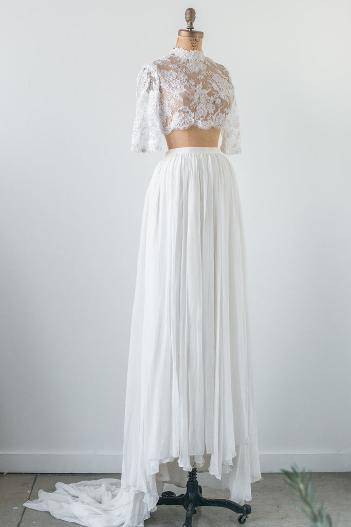 rental lace crop top and silk skirt combo xss g o s s
