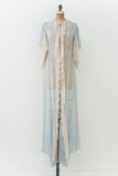 RENTAL Vintage Blue Silk Dressing Gown