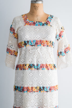 1970s Crochet Lace Dress - M