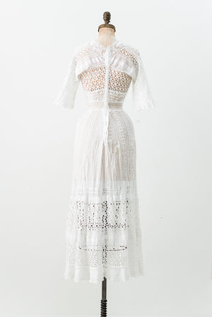 Edwardian Cotton Eyelet Dress - XS