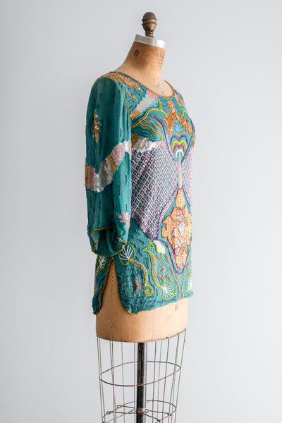 1980s Silk Beaded Tunic - S/M