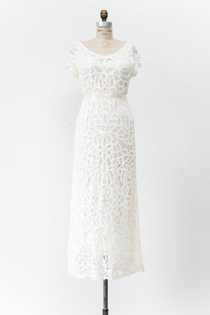 1980s Vintage Battenburg Lace Gown - M