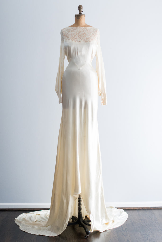 1930s Silk Satin and Lace Wedding Gown - S ...