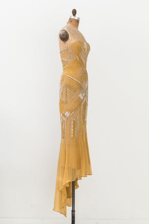 RENTAL J Mendel Marigold Silk Beaded Gown - S