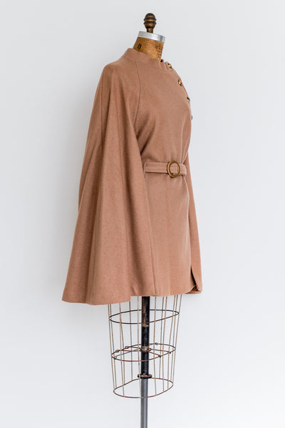 1960s Brass Button Wool Poncho Cape - One Size