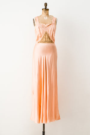 1930s Peach Silk Charmeuse Slip Gown with Ecru Lace - S