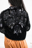Vintage Beaded Cropped Velvet Jacket - S/M