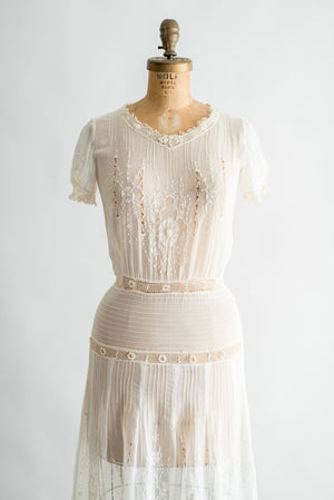 1920s Embroidered Pintucked Cotton Day Dress - XS/S