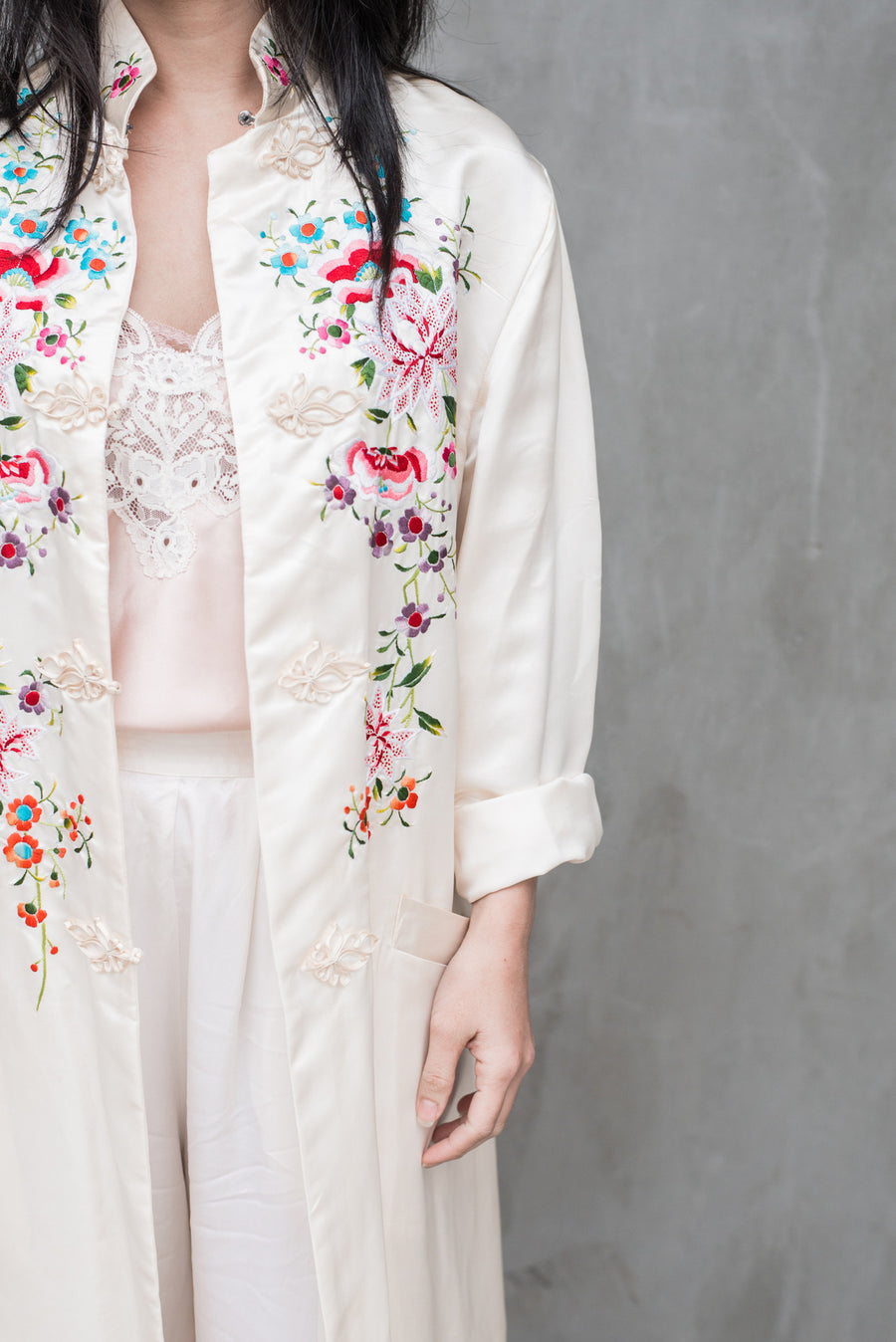 Vintage Ivory Embroidered Duster - M