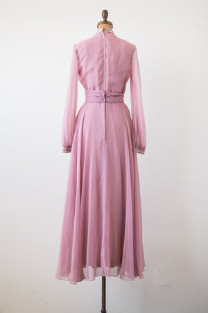 1970s Rose Pink Chiffon Gown - S