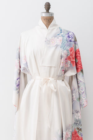 Vintage Ivory Kimono with Peacock and Roses - One Size