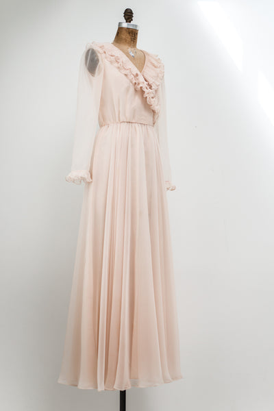 1960s Shell Pink Chiffon Maxi Dress - S
