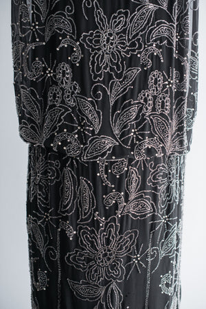 1920s Silk Chiffon Beaded Flapper Dress - S/M