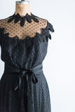 1960's Designer Werle Beverly Hills Swiss Dot Dress - M/L