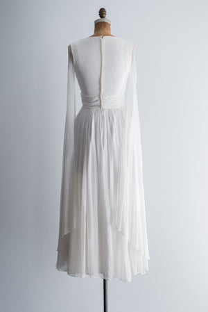 1960s Chiffon Angel Sleeves Gown - XS/S