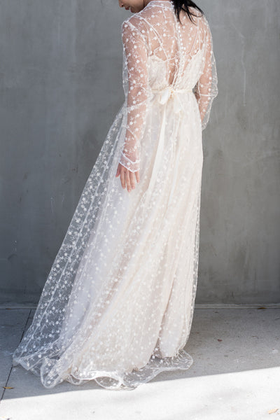 1970s Sheer Needle Lace Tulle Gown - S/M