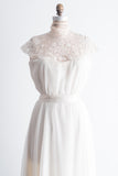 1980s Needle Lace and Chiffon Gown - M