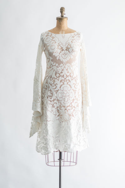 1970s Boho Crochet Angel Sleeves Dress - S