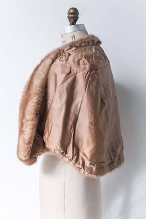 1950s Chestnut Brown Mink Capelet - One Size