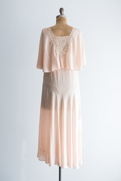 1920s Blush/Peach Silk Chiffon Dress - M/L