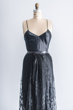 Black Edwardian Trained Skirt and Slip- S/M