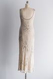 1980's Nude Silk Beaded Gown - S/M